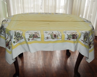 Vintage Tablecloth Yellow Kitchen Utensils 1950s 50 x 62 Large