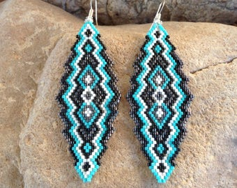 Turquoise Black and Gunmetal Southwest Peyote Beaded Earrings