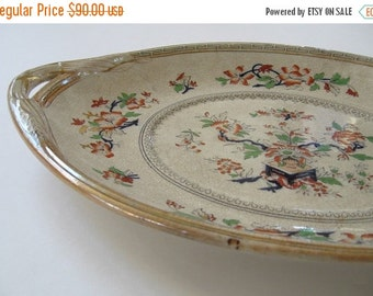 ON SALE Antique Transferware Polychrome Large Platter Chinoiserie Handles Rare Staffordshire Victorian Collectible 1800s