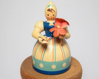 Little Lady with FLowers Wood Figure