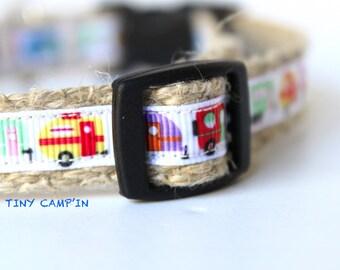 "Camper Dog Collar, Adventure Dog Collar, Handmade Collar, 5/8"" Wide Dog Collar, Adjustable Collar, Summer Dog Collar, Colorful Camper Collar"