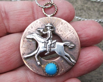 Turquoise Sterling Silver and Copper Mixed Metal Pendant