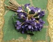 Vintage large cloth violet millinery corsage pin spray trim pink  purple flower flower making supply 1940 1950 1960