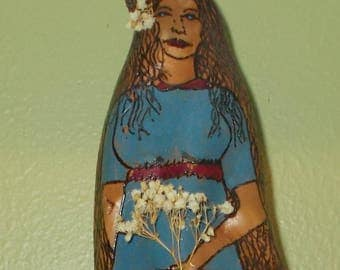 Girl With Long Dress Wood Burned Cypress Knee Rustic Woods Shelf Decor