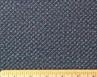 Navy Blue Denim Look Mini Diamond Quilted Jacquard Knit, 1 Yard