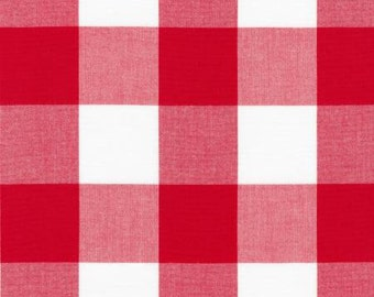 Red and White 2 Inch Plaid Checked Gingham, Robert Kaufman Carolina Gingham, 1 Yard