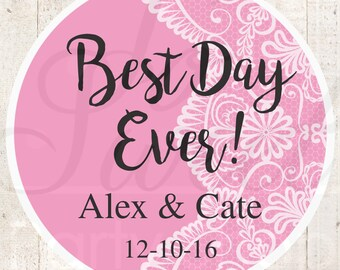 Wedding Favor Stickers, Bridal Shower Favor Labels, Personalized Stickers, Bachelorette Party Favors, Best Day Ever - Dark Pink - Set of 24