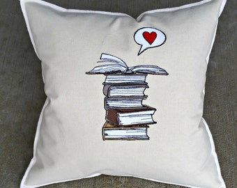 Book Love, Books, Love to Read Embroidered 18x18 Pillow, Neutrals
