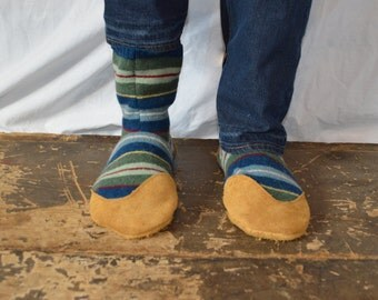 Men's 9-10 (EU 43-43.5) IRELAND TRAILS Felted Wool Soccasins with Leather Soles, Toes and Heels