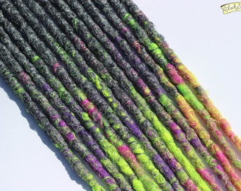 Neon Grey SE x14 Crochet Synthetic Dreads - purple pink yellow green