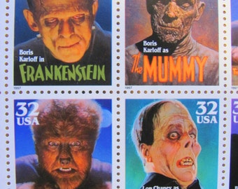 Classic Movie Monsters UNused Vintage US Postage Stamps Full Sheet of 20 32c 1996 Dracula Frankenstein Mummy Save the Date Wedding Postage