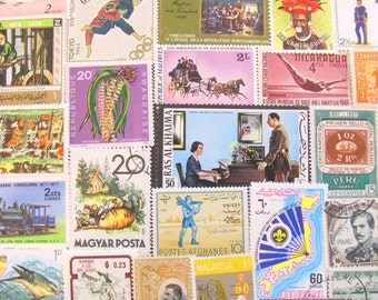 It's A Small World After All 100 Vintage Worldwide Postage Stamps Mega Mixture Europe Africa Asia Latin America Carribean Travel Philately 2