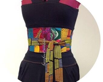 Patchwork Obi Belt, Unique African Patch Obi Belt, One of a Kind art to wear, Corset belt, OOAK Ankara Style, B Modiste Handmade
