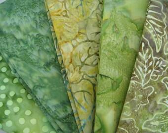 Green Batik Fabric Bundle in Fat Quarters or Half Yard Cuts