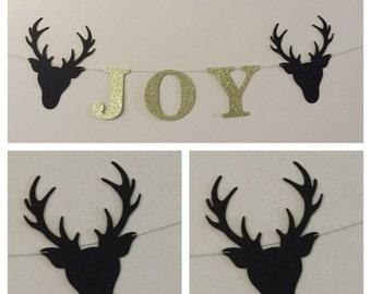 black and gold deer JOY banner holiday banner