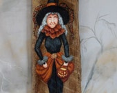 """Tre's Chic, Halloween Witch, hand painted, authentic barn wood, 5"""" X 14 1/2"""""""