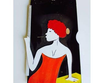 French Cocktail Bar Mod Lady Wall Art Female Lady Woman Spectacular Piece Vintage Restaurant Sign Tiki Lounge Mid Century Mod  Advertisement