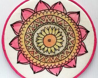 Watercolor Mandala Hand Embroidered Hoop Art