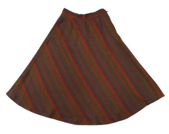 vintage 1970s midi skirt • woven stripes boho skirt • the strawberry plant