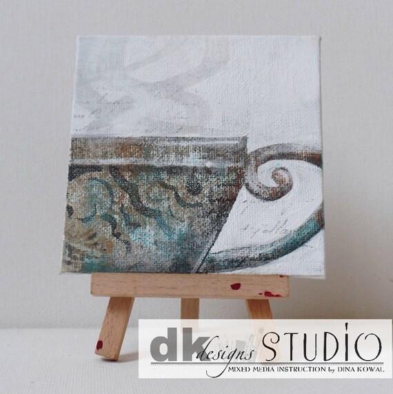 """SALE! Teacup #2 - original 4"""" canvas panel"""