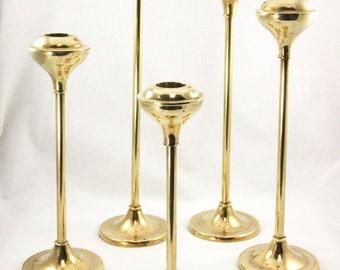 Brass Candlesticks Mid Century Modern Set of 5 Vintage candleholders wedding centerpiece modern home decor gold candleholders