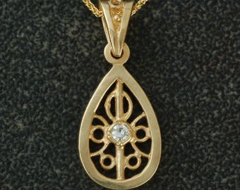 Antique Style | Diamond Pendant | 14 Karat Yellow Gold | Teardrop | unique