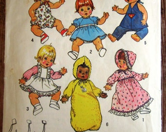 Vintage 1970s Baby Doll Wardrobe For Medium Sized Dolls Sized 15 to 16 inches Simplicity Pattern 7208 Cut/Complete