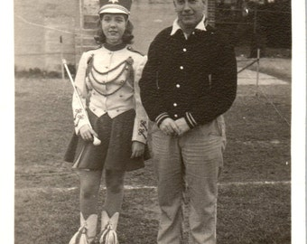 Vintage Photo - Majorette and Dad - Vernacular, Found Photo (A)