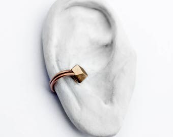 Minimal bronze facet ear cuff no piercing