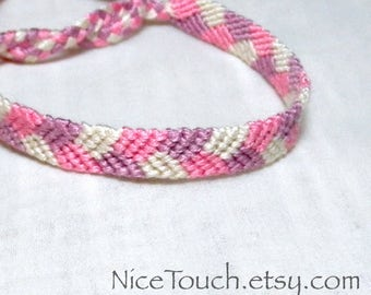 SUMMER SALE!!! Free Shipping or Save 20% ~ Lilacs: Spring Series knotted friendship bracelet ~ Made to Order