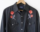 Vintage Black Red Roses Pearl Snap Western Shirt
