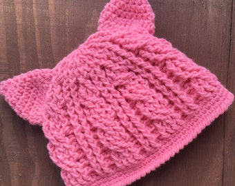 Crochet Child's Hat, Kids Pink Pussycat Hat, Pink Kitty Hat, Cabled Pink Cat Hat, Crochet Pink Pussy Hat, Kids Pink Hat, Pink Kitty Hat