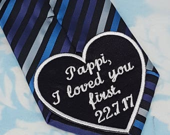 Wedding heart tie patch - Father of the Bride applique - Father of the Bride - Father of the Bride patch - iron on heart - Heart tie patch