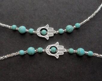 Glasses Chain Turquoise, Hamsa Hand Eyeglass Necklace Holder, Turquoise Gemstone Eyeglass Chain Aqua Blue, Silver Beaded Lanyard for Women