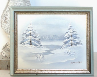 Vintage Barrister Oil Paintings Handmade Winter Mountain and Pine Tree Scenes Wall Decor Wall Art Wall Hangings