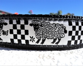 "Sale Dog Collar 1"" wide Quick Release buckle Sheep and Butterfly - no martingale limited ribbon"