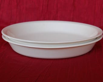 """Set of 2 Vintage Corning Ware """"All White"""" or """"Just White"""" 9 inch Pie Plates Number P-309"""