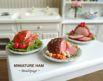Miniature Roasted Baked Ham for 1:12 scale Dollhouse Diorama Roombox Fake Food DIY Craft Food Jewelry