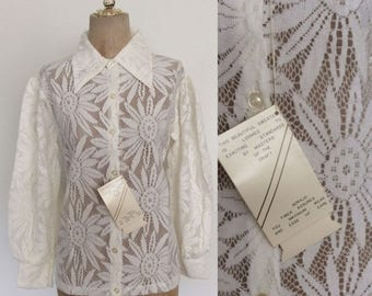 30% OFF 1970's Deadstock White Lace Button Up Top Vintage Blouse Jacket Size Small Medium by Maeberry Vintage