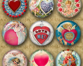 1 inch Digital Printable Circles BE MY VALENTINE collage sheet for Pendants Cufflinks Magnets Crafts...Cupids Hearts Whimsy