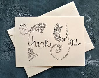 Thank You Note Card. Single Card