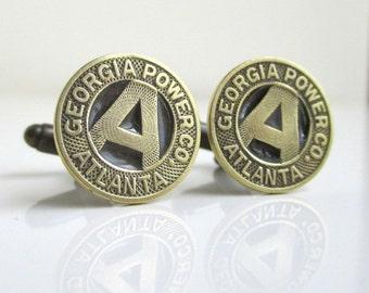 Georgia Power Coin Cuff Links - Atlanta Repurposed Vintage Transit Tokens, Solid Brass