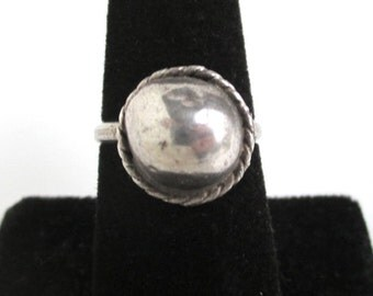 Sterling Silver Modernist Ball Shape Ring - Vintage Mexico Handmade, Size 7