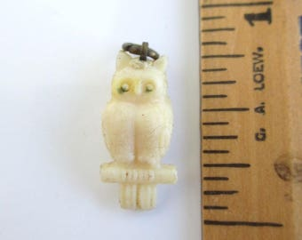 Celluloid OWL Charm - Vintage w/ Metal Top Ring