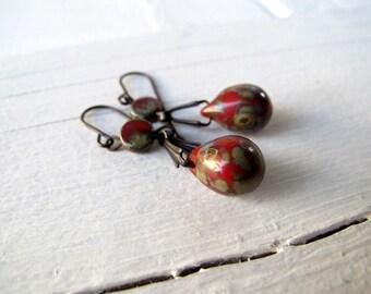Rustic Red Teardrop Earrings, Bohemian Dangle Earrings, Boho Hippie Chic, Black Brass Earrings, Coachella Style, Czech Picasso Glass,