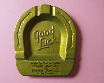 Vintage GOOD LUCK Ashtray Horseshoe 1950's NEBRASKA Grain Company Metal Smoking