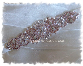 Rose Gold Bridal Headband, Pearl Crystal Rose Gold Wedding Headband, Rhinestone Bridal Headpiece, Jeweled Wedding Head Piece, No. 4060RGHB