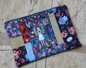 Alice in Wonderland patchwork quilted zip pouch