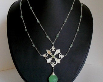 silver and adventurine necklace