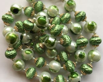 Vintage Green and White Bead Necklace Gold Tone Caps
